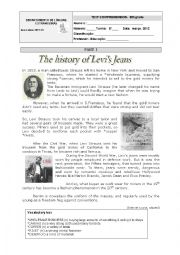 English Worksheet: The history of Levi�s Jeans-8th grade WS