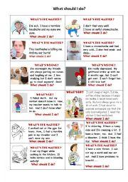 English Worksheet: what should i do cards