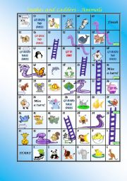 English Worksheets: SNAKE AND LADDER ANIMALS