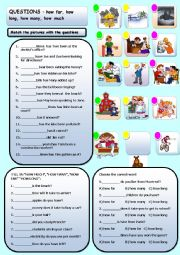 English Worksheet: QUESTIONS HOW FAR, HOW LONG, HOW MANY, HOW MUCH