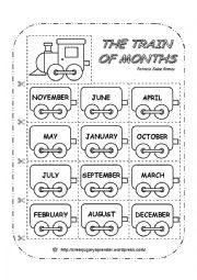 English Worksheet: THE TRAIN OF MONTHS