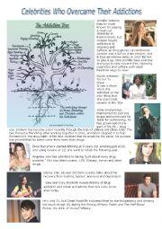 English Worksheet: celebrities addictions + work on -aholic suffixe