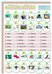 English Worksheets: ACTION VERBS
