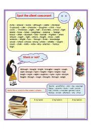 English Worksheet: Silent consonants and syllables