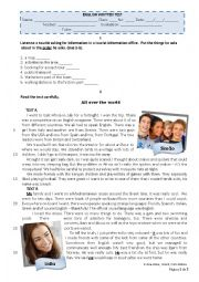 English Worksheet: Written Test - 9th form, level 5