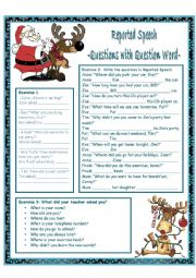 English Worksheet: Reported Speech ***Questions with Question Word***
