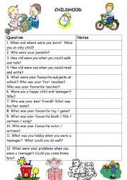 English Worksheet: Childhood