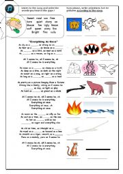 English Worksheet: A good song to teach as adjective as