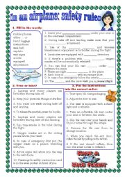 English Worksheet: In an airplane: safety rules