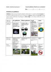 English Worksheet: lesson3 pollution a threat to our environment