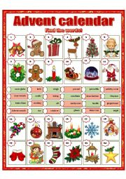 English Worksheet: Advent calendar
