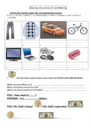 English Worksheet: ASK THE PRICE    HOW MUCH