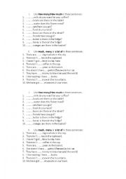 English Worksheet: many much