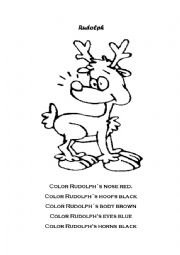English Worksheet: Color Rudolph
