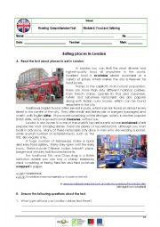 English Worksheet: Reading Comprehension Test on  Places to Eat