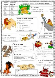 English Worksheet: Possessive pronouns with the Lion King