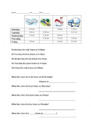 English Worksheet: Transport Schedule