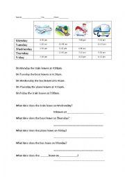 English Worksheet: Transport Schedule