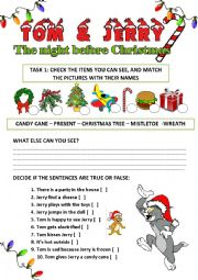 English Worksheet: Christmas Video Activity: Tom & Jerry - A night before Christmas