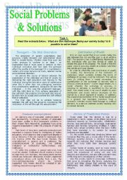 English Worksheet: Social Problems and Solutions