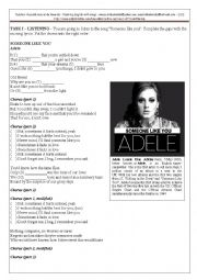 English Worksheet: Someone like you (Adele)