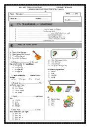 English Worksheet: 8th grade 1st term 1st exam