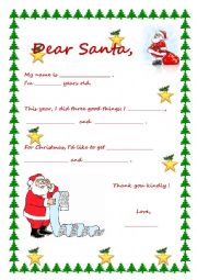 English Worksheet: Letter to Santa Claus