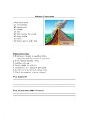 English Worksheet: Volcano Experiment