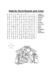 Nativity Word Search and Color