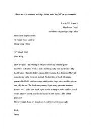 English Worksheet: comma practice