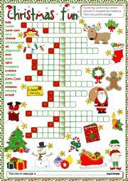 English Worksheet: Christmas fun - crossword