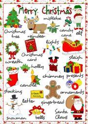 English Worksheet: Merry Christmas - pictionary