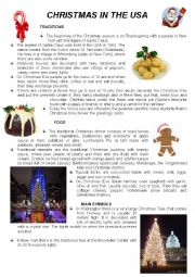 English Worksheet: Christmas in the USA