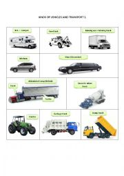 English Worksheet: KINDS OF VEHICLES AND TRANSPORT 2