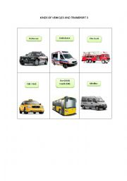 English Worksheet: KINDS OF VEHICLES AND TRANSPORT 3