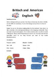 English Worksheet: Speaking Exercise American vs British English