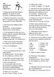 English Worksheet: The Nightmare before Christmas quiz
