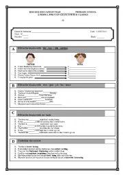 English Worksheet: 8th grade 2nd term 1st exam