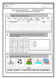 English Worksheet: 6th grade 1st term 1st exam