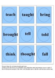 English worksheet: Memory Game to review irregular past tense