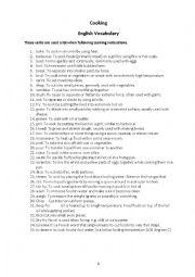 English Worksheet: Cooking verb