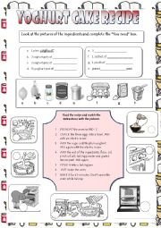 English Worksheet: Yoghurt cake recipe