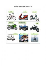 English Worksheet: KINDS OF VEHICLES AND TRANSPORT 5