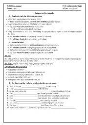 English Worksheet: future perfect simple