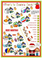 English Worksheet: What�s in Santa�s Bag with Demonstratives - this, that, these, those. 2 Pages Plus Key.