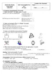 English Worksheet: mid-term test 2 for 8th form (tunisian school)