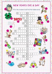 English Worksheet: New Year´s Eve & Day Crossword Puzzle