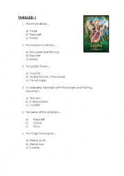 English Worksheet: Tangled Quiz