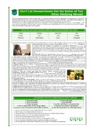 English Worksheet: DON�T LET HOMESICKNESS GET THE BETTER OF YOU WHEN STUDYING ABROAD
