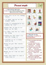 Word order and Prepositions in Present Simple(Daily routine)+pictures